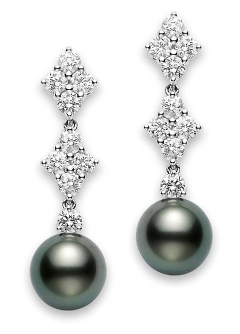 Mikimoto Classic Elegance Black South Sea Long Earrings
