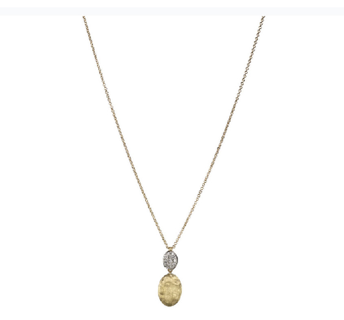 Marco Bicego Siviglia Drop Necklace in 18kt Yellow Gold with Pave Diamonds