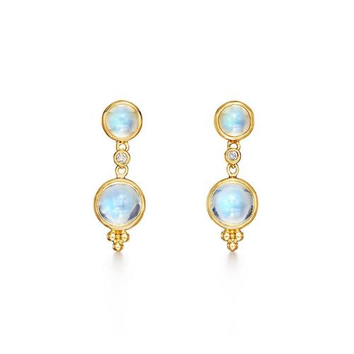18K Double Drop Earrings with Diamond