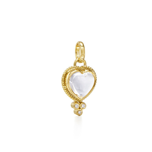 Temple St. Clair 18K Braided Heart Pendant with Heart Rock Crystal and Diamond Granulation
