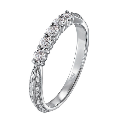Scott Kay Radiance Wedding Band Five Diamond Cluster with Band Detail