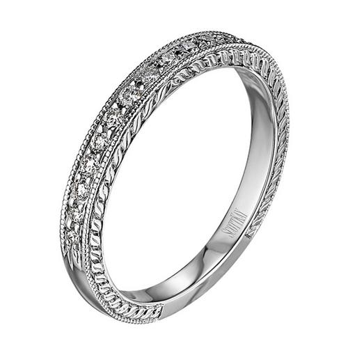 Scott Kay Radiance Wedding Band Single Diamond-Sided with Band Edge Detail