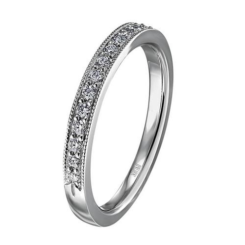 Scott Kay Radiance Wedding Band Single Diamond-Sided with Triple-Leaflet Edge