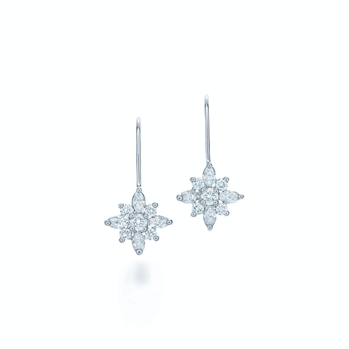 Kwiat Small diamond drop earrings from the Kwiat Star Collection in platinum