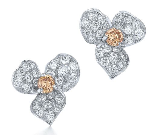 Kwiat Diamond stud earrings from the Floral Collection in 18K white gold
