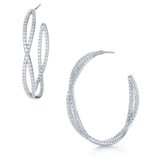 Kwiat Large diamond hoop earrings from the Fidelity Collection in 18K white gold