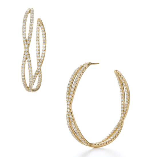 Kwiat Large diamond hoop earrings from the Fidelity Collection in 18K yellow gold