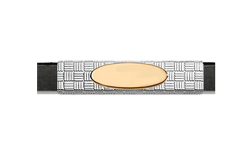 Grand Band Classic Collection Sterling Silver Woven w/14Kt. Yellow Gold Engraveable Plate