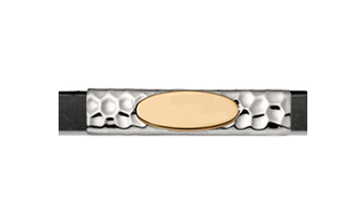 Grand Band Classic Collection Sterling Silver Hammered w/14Kt. Yellow Gold Engraveable Plate