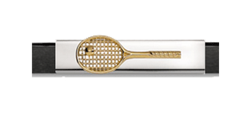 Grand Band Classic Collection Sterling Silver Plate with Raised 14kt. Yellow Gold Tennis Racquet