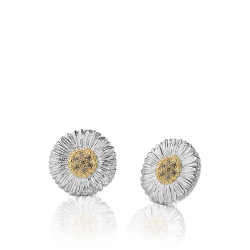 Small Sterling Silver Daisy with Gold Vermeil and Brown Diamond Earrings
