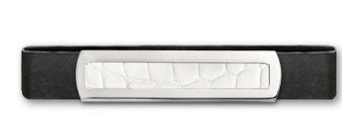 Grand Band Sterling Silver, with Plain Sterling Silver Frame Genuine White Alligator Center