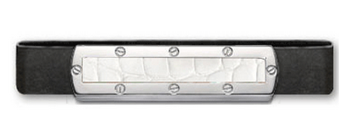 Grand Band Sterling Silver, with Screw Sterling Silver Frame Genuine White Alligator Center