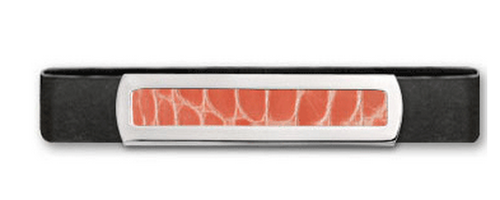 Grand Band Sterling Silver, with Plain Sterling Silver Frame Genuine Salmon Alligator Center
