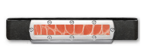 Grand Band Sterling Silver, with Screw Sterling Silver Frame Genuine Salmon Alligator Center