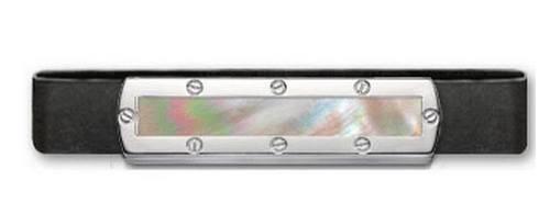 Grand Band Sterling Silver, with Screw Sterling Silver Frame Genuine Beige Mother of Pearl Center