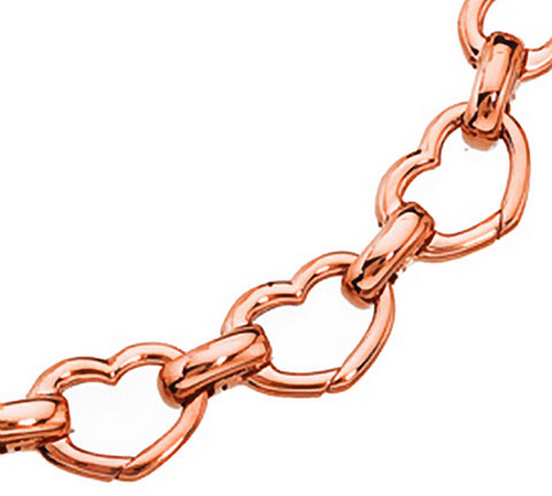 Aaron Basha 18K Rose Gold Basha Heart Shaped Open-Link Bracelet (large)