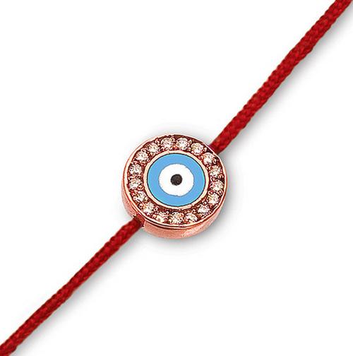 Aaron Basha 18K Rose Gold Evil Eye with Diamonds on a Red Cord Bracelet