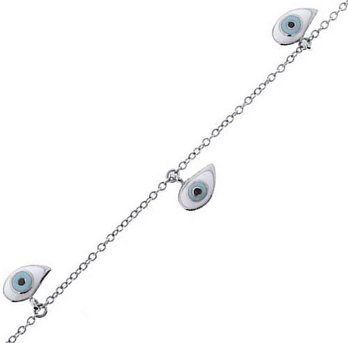 Aaron Basha 18K White Gold Evil Eye Bracelet (4 Eyes)