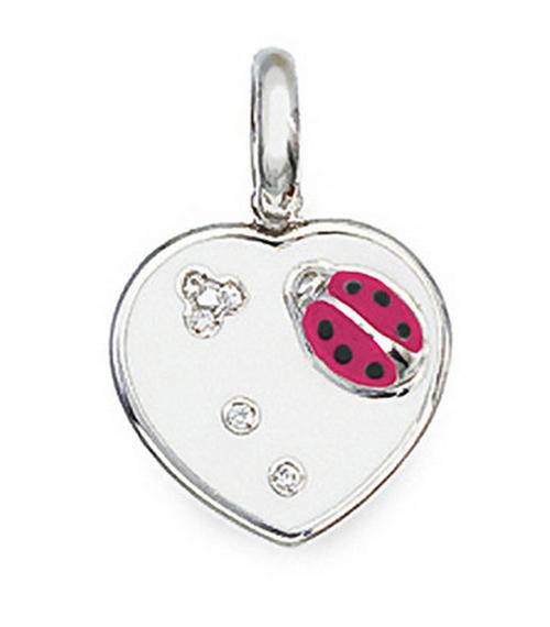 Aaron Basha 18K White Gold White with Fluorescent Pink Flat Ladybug Heart