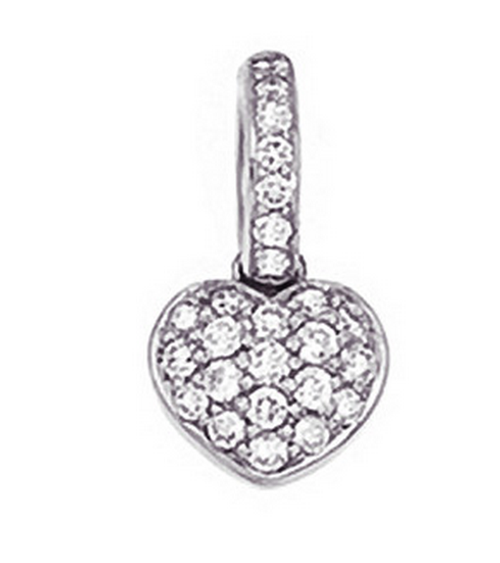Aaron Basha 18K White Gold Pave Heart (Small)