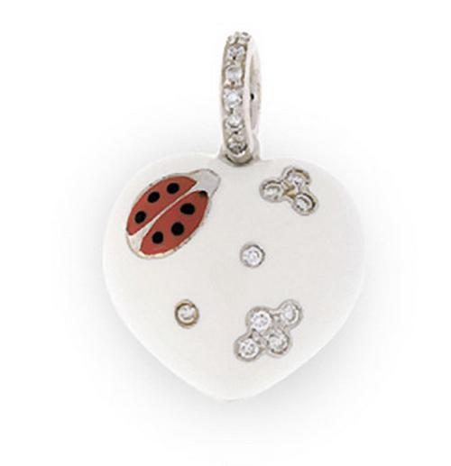 Aaron Basha 18K White Gold White Puffy Ladybug Heart