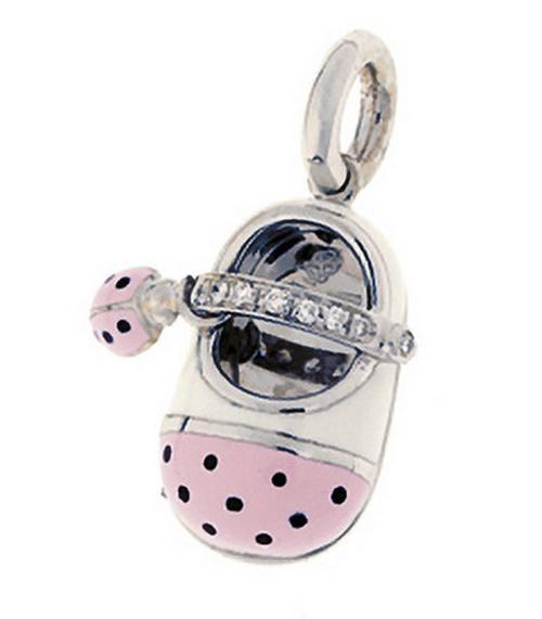 Aaron Basha 18K White Gold Pink Ladybug Diamond Strap Shoe with Ladybug Accent
