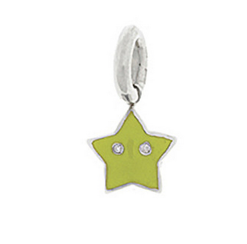 Aaron Basha 18K White Gold Green Star Charm (Medium)