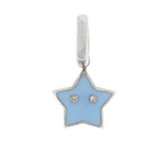 Aaron Basha 18K White Gold Light Blue Star Charm (Medium)
