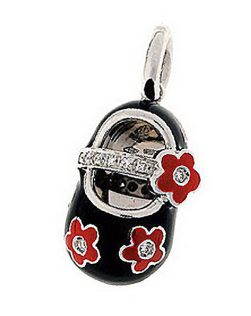 Aaron Basha 18K White Gold Black with Red Flowers Flower Shoe with Flower Strap