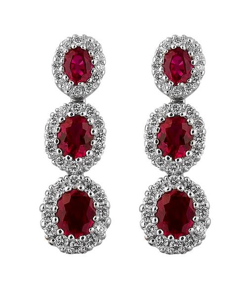Spark 18K White Gold .58ct Diamond 2.16ct Ruby Earrings