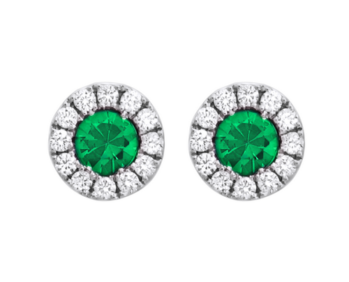 Spark 18K White Gold Emerald Stud Earrings