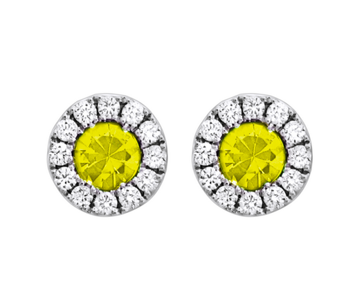 Spark 18K White Gold Yellow Sapphire Stud Earrings