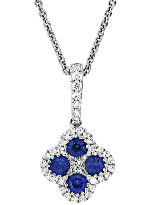 Spark 18K White Gold .36ct Diamond .27ct Blue Sapphire Clover Necklace