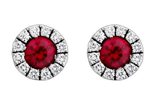 Spark 18K White Gold Ruby Stud Earrings