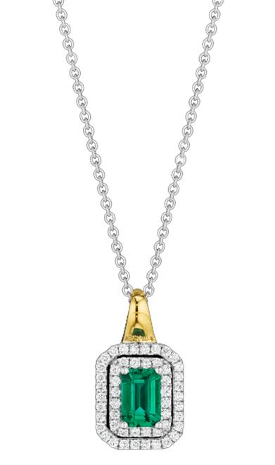 Spark 18K Gold .24ct Diamond .70ct Emerald Necklace