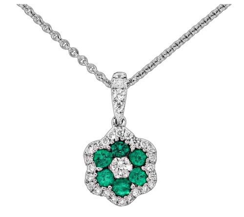 Spark 18K White Gold .27ct Diamond .36ct Emerald Necklace