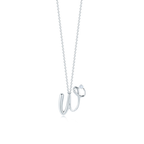 Kwiat Diamond Initial Pendant in 18k white gold