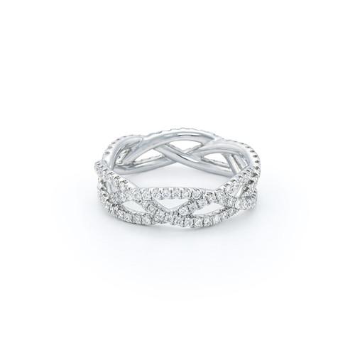 Twist Ring Diamond three row ring in Platinum
