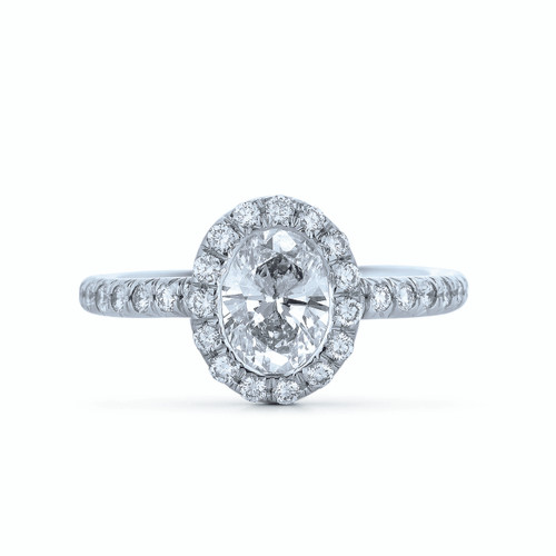 Kwiat Oval Diamond Engagement Ring Oval diamond ring with diamond band in platinum