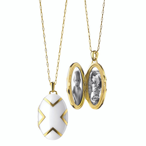 Oval white Ceramic Locket in 18K gold with diamond accents