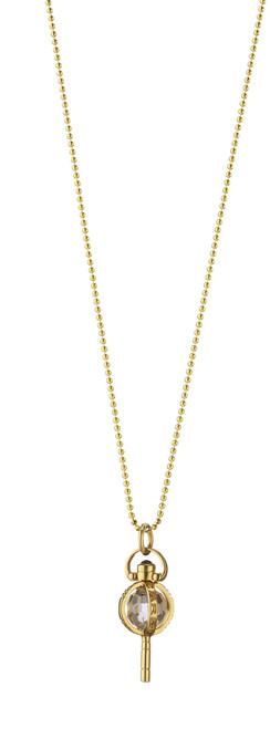 "MINI ""CARPE DIEM"" Key Necklace 18K Yellow Gold on 18'' ""Jordie"" Ball chain"