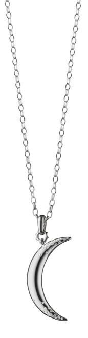 "Monica Rich Kosann ""DREAM"" MOON NECKLACE WITH SAPPHIRES Sterling Silver 1.75"" Large Moon Charm, 32"" chain"