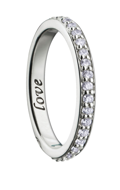 """""""LOVE"""" POESY RING with PAVE Diamonds in White Gold- Only Ring, No Chain"""