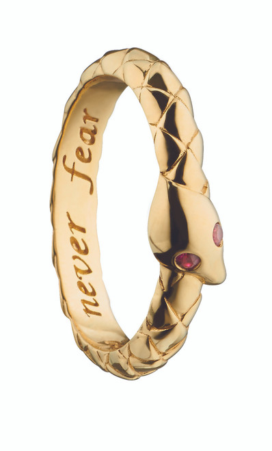 """Monica Rich Kosann """"NEVER FEAR"""" SNAKE POESY RING NECKLACE with Rubies in Yellow Gold"""
