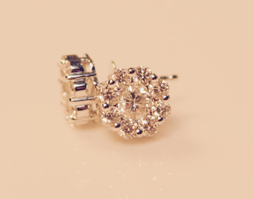 Diamond Clusters Earrings in 14kt white gold 1.51ct