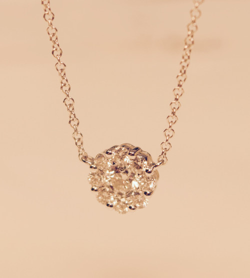 Diamond Clusters Pendant Necklace in white gold 0.51ct