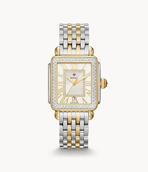 Michele Deco Madison Diamond Two-tone, silver white sunray and diamond dial watch