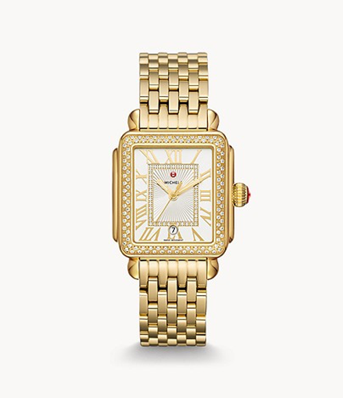 Michele Deco Madison Diamond Gold Watch with Silver White Sunray Dial