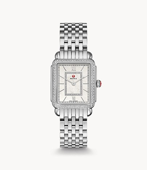 Michele Deco II Mid Stainless Watch with White MOP and Diamond Dial